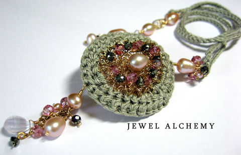Elinor,Perfume,or,Scent,Locket:,Crocheted,with,Raw,Linen,,Pearls,and,Pyrite,perfume locket, raw linen, pink pearls, boho jewelry, pyrite, crochet jewelry, jewel alchemy, jewelalchemy, artisan made, handmade