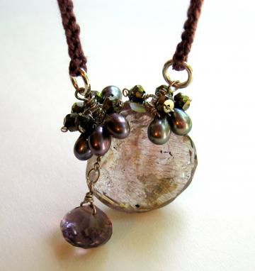 Tarnished,Smoke,Necklace,with,Moss,Amethyst,Pyrite,Pearls,hand,crocheted,silk,Jewelry Necklace Wire Wrapped pyrite freshwater pearls silk hand crocheted sterling silver hobnail luxe lovely violet free shipping crochet antique violet moss amethyst pyrite pearls sterling silver silk love amethyst hand crocheted silk handmade componen