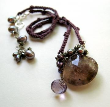 **holiday,sale**,Tarnished,Smoke,Necklace,with,Moss,Amethyst,Pyrite,Pearls,hand,crocheted,silk,Jewelry Necklace Wire Wrapped pyrite freshwater pearls silk hand crocheted sterling silver hobnail luxe lovely violet free shipping crochet antique violet moss amethyst pyrite pearls sterling silver silk love amethyst hand crocheted silk handmade componen