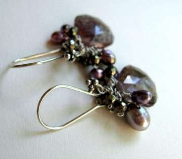 Tarnished,Smoke,Earrings,with,Moss,Amethyst,Pyrite,Pearls,Sterling,silver,Jewelry Earrings Dangle moss amethyst violet bali silver sterling silver handwrapped autumn mauve lovely free shipping antique violet luxe gemstones pyrite pearls sterling silver love bali silver hooks freshwater pearls