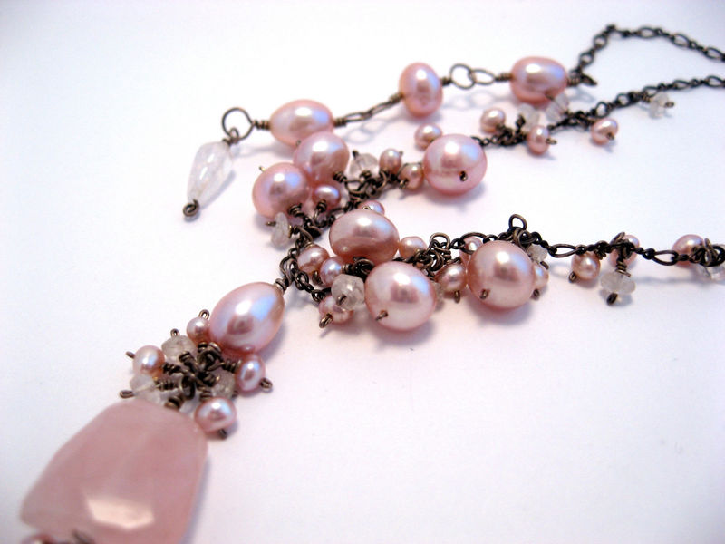 **holiday sale** Rough and Fancy Necklace with Faceted Rose Quartz Pink Pearls and Rainbow Moonstone - product images  of