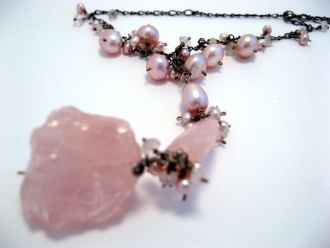 Rough,and,Fancy,Necklace,with,Faceted,Rose,Quartz,Pink,Pearls,Rainbow,Moonstone,Jewelry Necklace Stone chain silver pearl rosequartz moonstone rainbowmoonstone pink wedding springtime freshwater pearl luxe artisan jewelry wirewrapped heart chakra love healing
