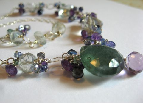 **holiday,sale**,Violet,Moss,Necklace,with,Aquamarine,Amethyst,Tanzanite,Iolite,and,Sterling,Silver,Jewelry Necklace Stone gemstone moss aquamarine prasiolite green amethyst tanzanite gorgeous iolite kyanite mystic topaz luxe holiday gift  moss aquamarine amethyst prasiolite iolite tanzanite mystic topaz sterling silver sterling silver chain green amet