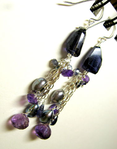 **holiday,sale**,Violet,Dream,Earrings,with,Iolite,,Amethyst,,and,Grey,Freshwater,Pearls,Jewelry Earrings Dangle amethyst gothic witchy luxe stones dangle beaded gemstone purple pearl grey violet dream Materials iolite amethyst grey freshwater pearls sterling silver wire sterling silver chain sterling silver earwires