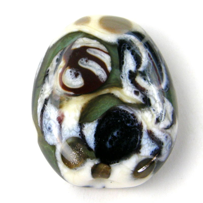 Fossil Lampwork Bead Handmade Glass Focal Urchin Ivory Teal - product images  of