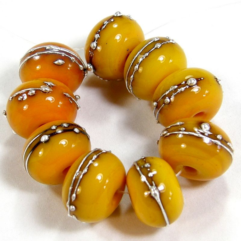Medium Yellow Lemon Handmade Lampwork Beads Opaque Glass Shiny Silver 408gfs - product images