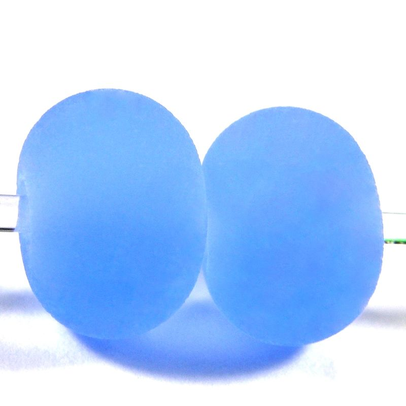 Etched Light Blue Handmade Lampwork Beads Frosted Sea Glass Round 052e - product images