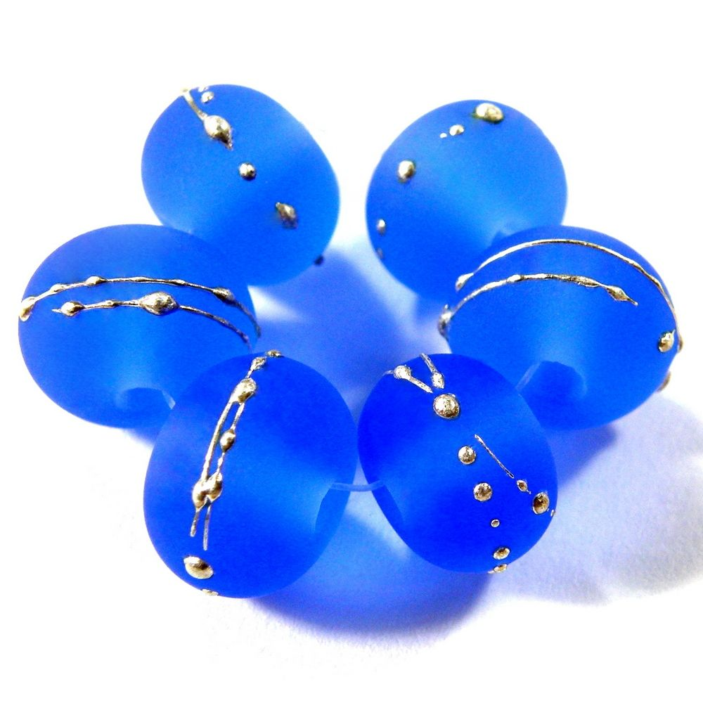 etched glass dark blue lampwork beads lampwork glass beads handmade sea glass beads silver 056efs