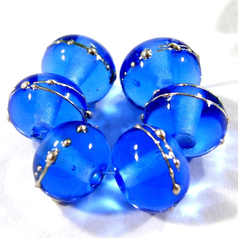 Lampwork Beads Transparent Shiny Dark Blue Handmade Glass Beads Silver 056gfs - product images
