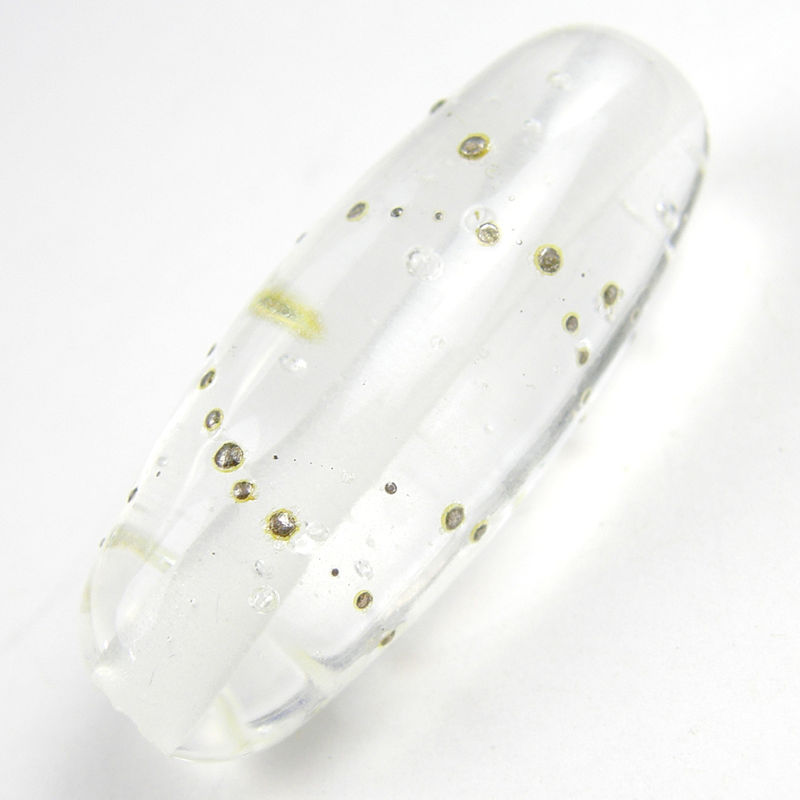 Transparent Clear Shiny Oblong Handmade Lampwork Glass Focal Bead - product images  of