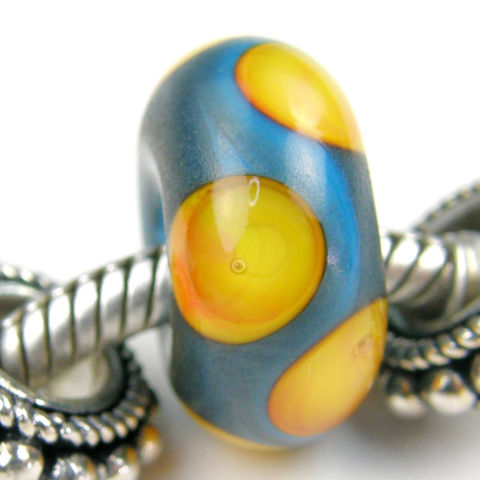 Rustic,Dark,Sky,Blue,Glass,Art,Charm,Bead,Handmade,Lampwork,Slider,Bracelet,SRA,glass charm, lampwork beads, handmade, glass, slider beads, glass beads, handmade lampwork beads, bracelets beads, charm beads, glass charm beads, dot beads, sky blue beads, apricot beads, round beads