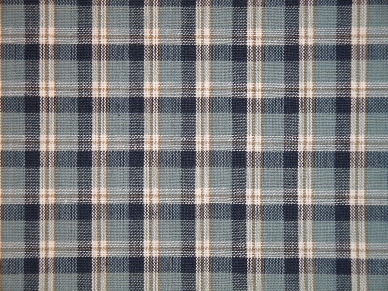 Attractive Large Plaid Cotton Homespun Material Navy Light Blue Tan White Sold By The  Yard   Product