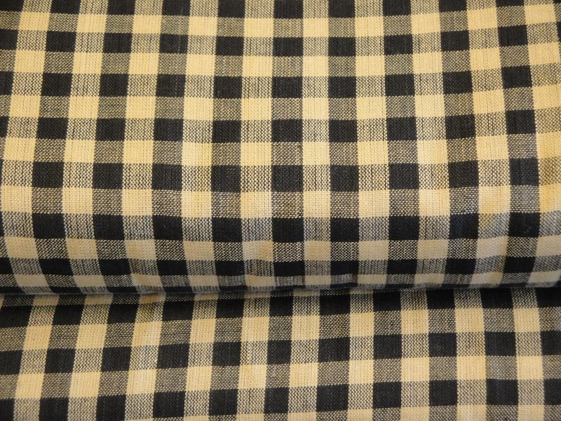 Black And Tan Large Check Cotton Homespun Fabric Sold By