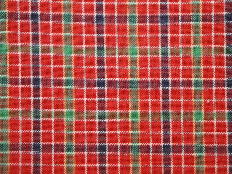 Cotton Homespun Material Red Window Pane Plaid 1 Yard - product image