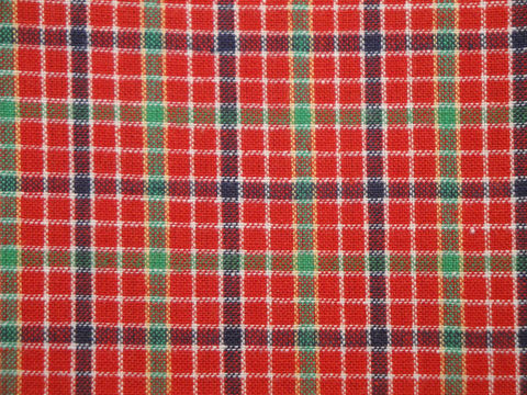 Cotton,Homespun,Material,Red,Window,Pane,Plaid,1,