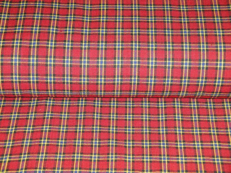 Homespun Material Small Plaid Red Royal Yellow Black Sold By The Yard - product image