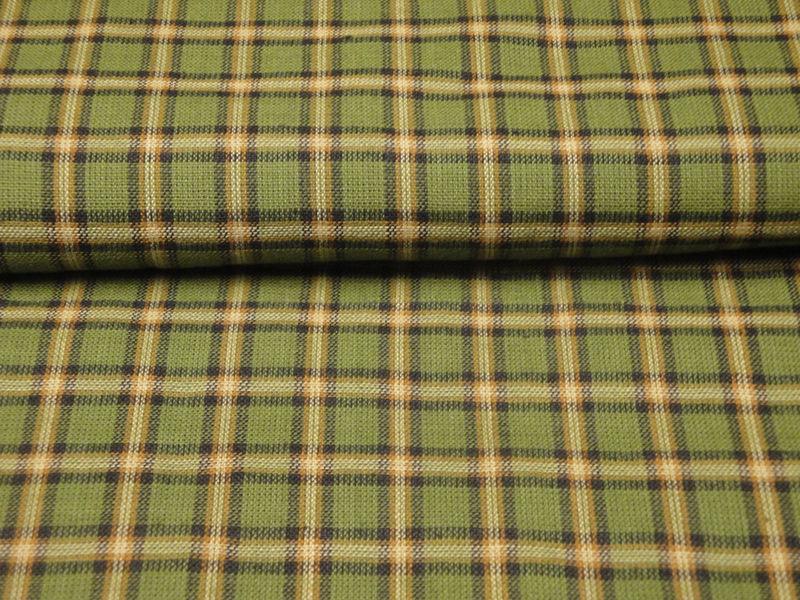 Plaid Homespun Fabric Green Black Butterscotch And Natural
