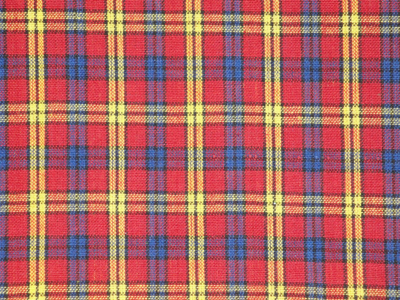 Homespun Fabric Large Plaid Red Royal Yellow Black Sold By The Yard ...