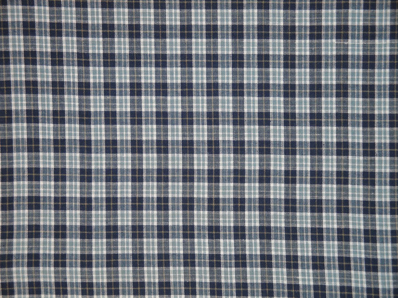 Small Plaid Cotton Homespun Material Navy Light Blue Tan White Sold By The  Yard   Product