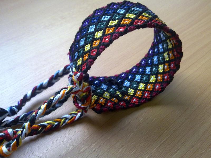 Friendship Bracelet Rainbow Diamonds Macrame Bracelet