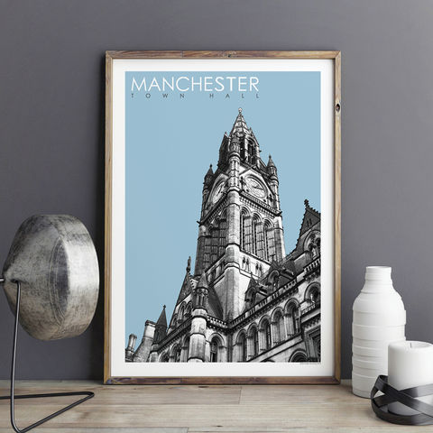 Manchester,Prints,-,Town,Hall,Travel,Posters,Manchester prints, travel posters, city prints, travel prints, Manchester Town Hall