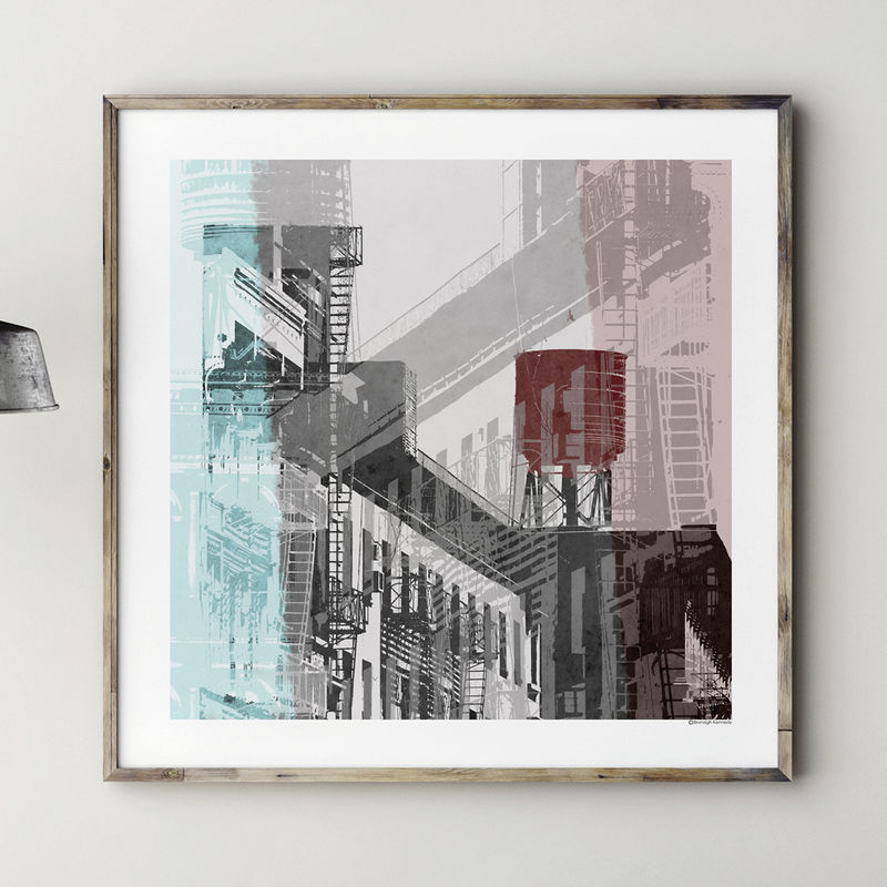 Abstract Cityscape Art Print   NYC No. 1   Product Images Of