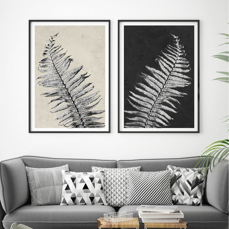 Botanical prints set of 2 prints minimalist prints large wall art black