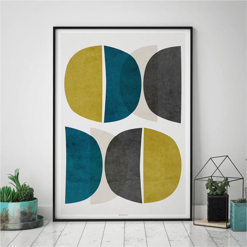 Abstract Wall Art U2013 Modern Art Prints U2013 Minimalist Print U2013 Yellow And Teal  Wall Art