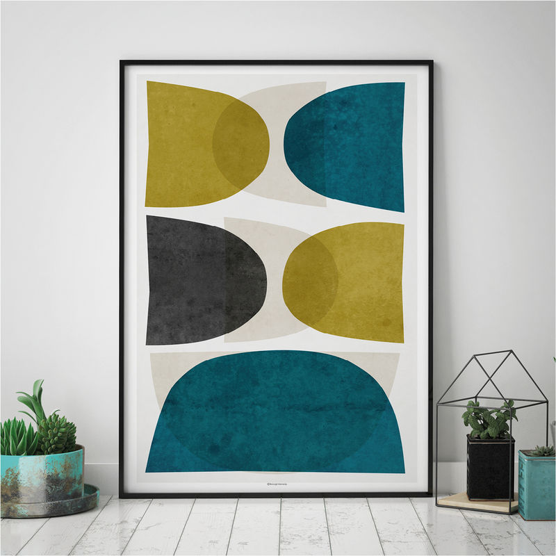 Merveilleux Minimalist Wall Art   Abstract Art Prints U2013 Fine Art Prints   Teal And Gold  Wall