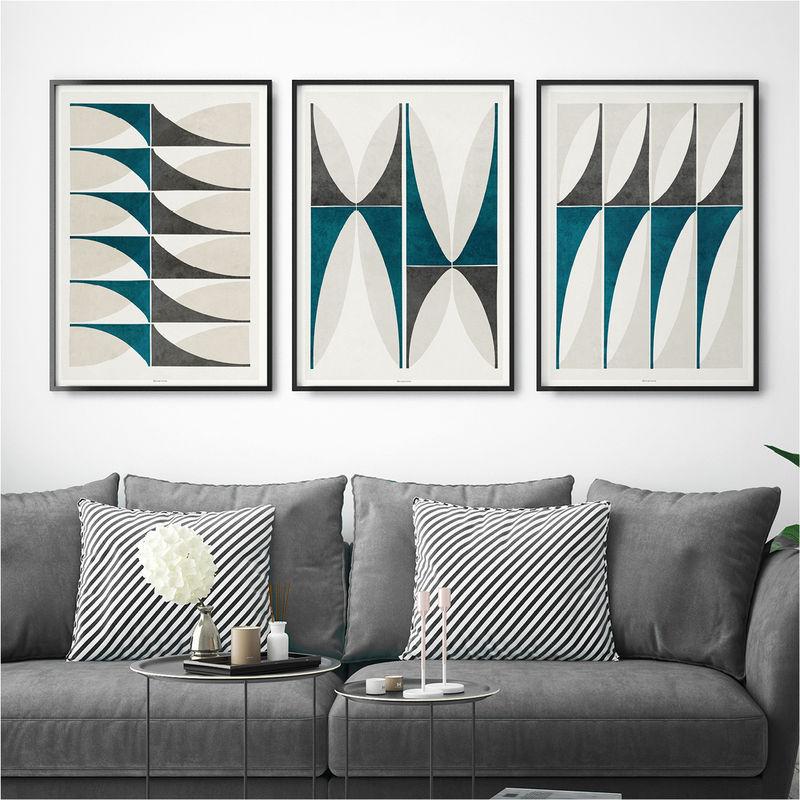 Set Of Three Art Prints U2013 Abstract Geometric Wall Art Prints U2013 Modern Wall  Art U2013