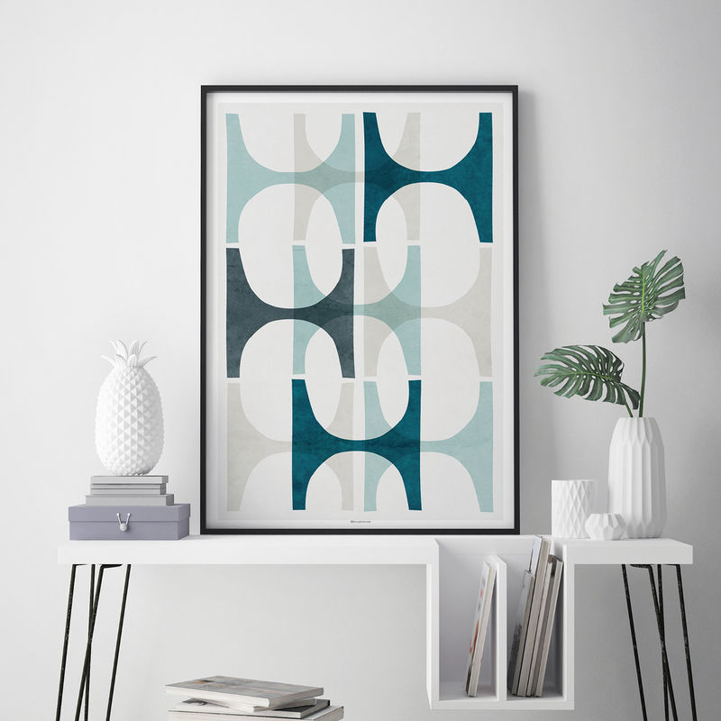 Blue Abstract Wall Decor : Abstract wall art blue geometric print