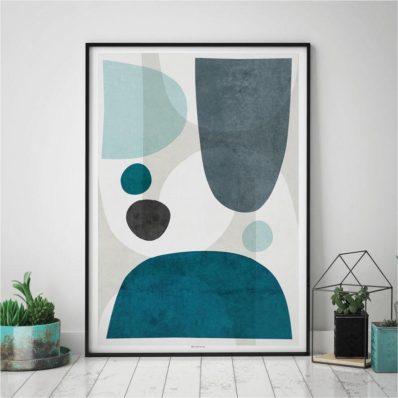 Set Of Three Prints Blue Abstract Wall Art Prints Large Fine Art