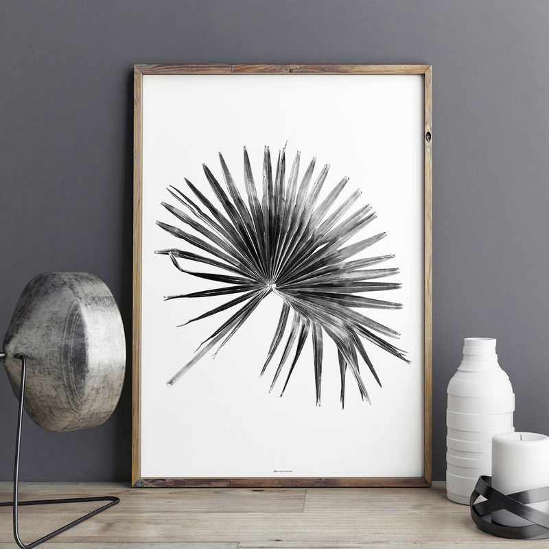 Palm leaf botanical art print black and white art large wall art product