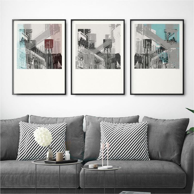 set of 3 art prints abstract wall art new york art bronagh