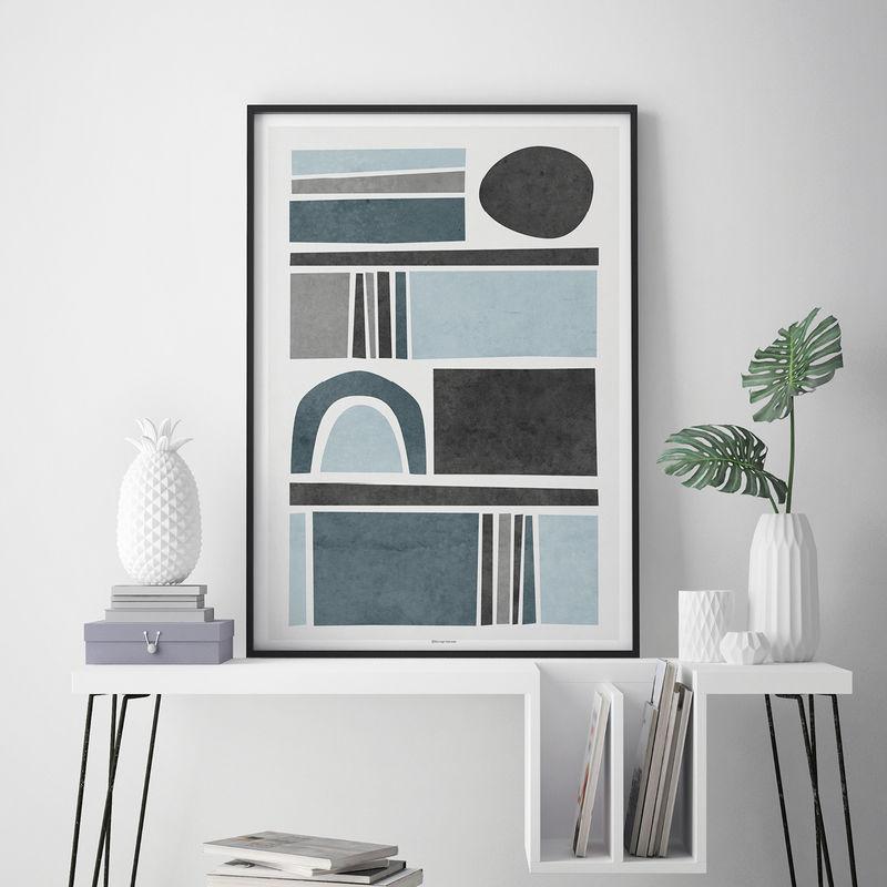 Abstract Wall Art Prints   Living Room Art   Blue Grey Wall Art    Minimalist Print Part 39