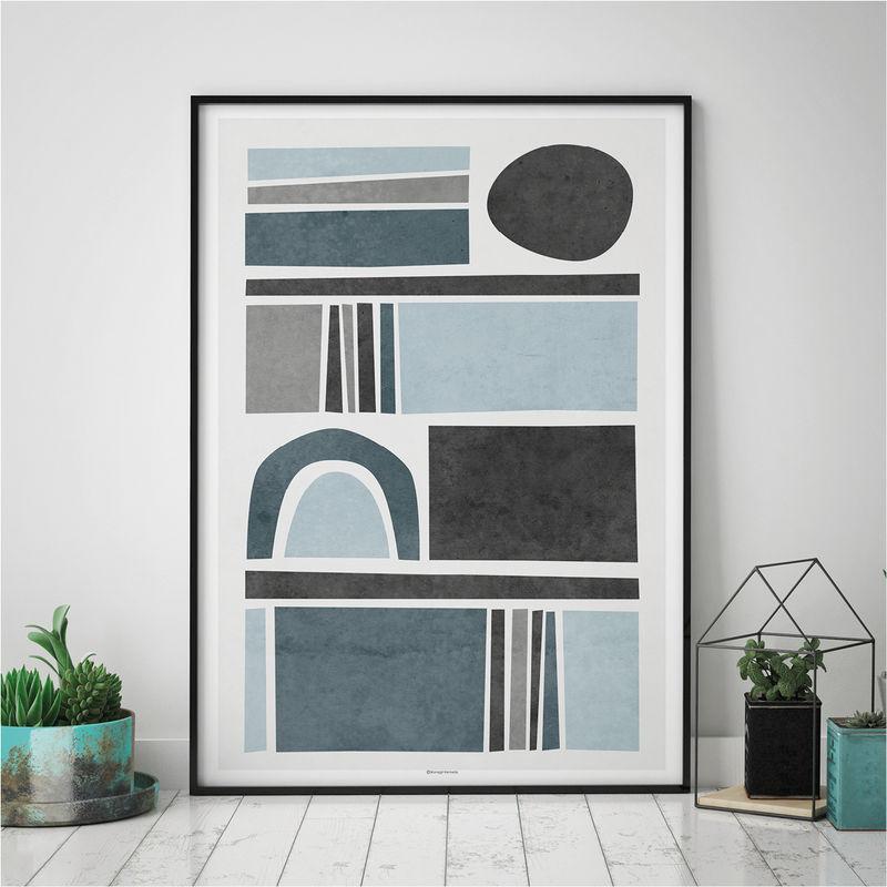 Abstract Wall Art Prints   Living Room Art   Blue Grey Wall Art    Minimalist Print