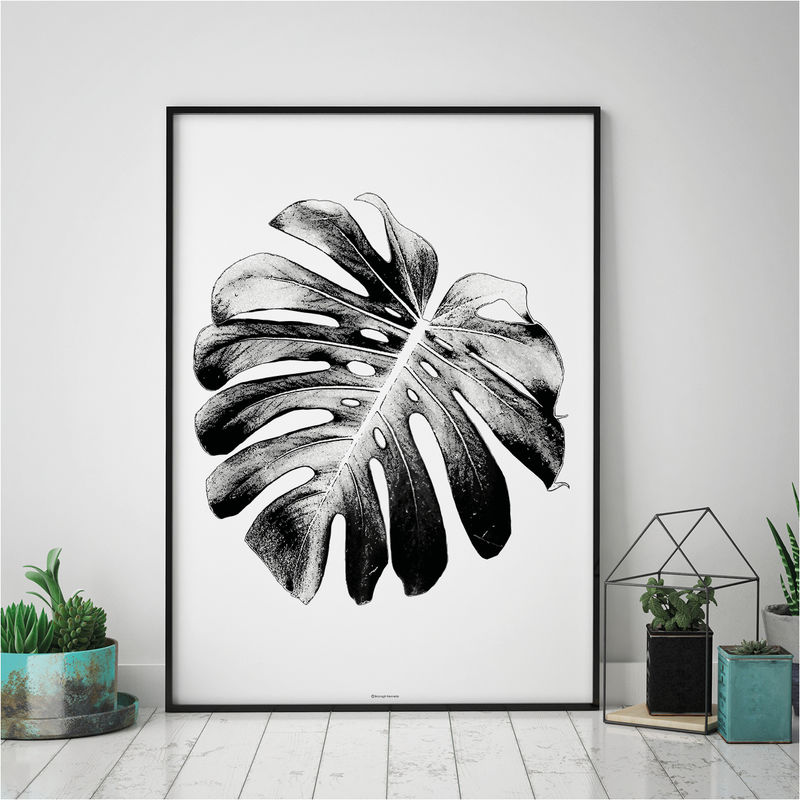 Monstera leaf print botanical wall art print black and white print botanical art