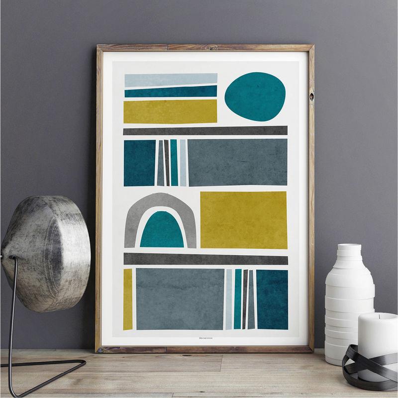 Abstract art print living room art teal wall art for The art of minimalist living