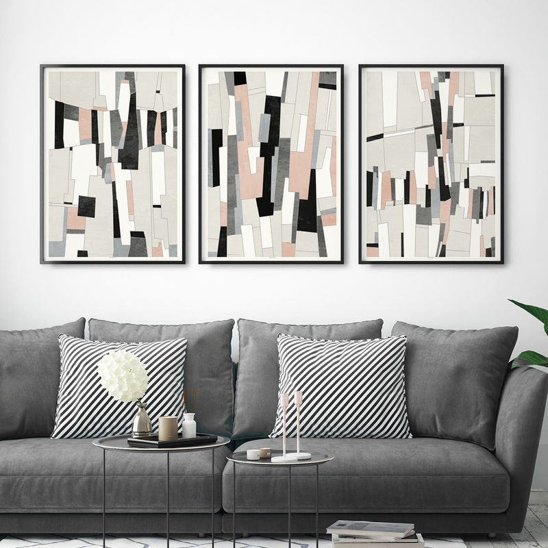 Set of 3 Abstract Wall Art Prints- Pink and Grey Living Room Art - Fine Art  Prints