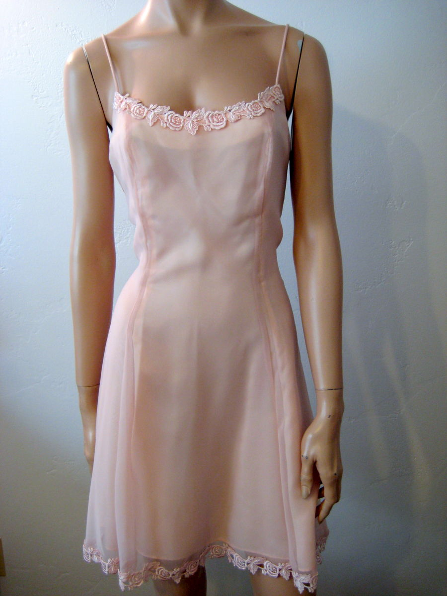 Sheer Pink Summer Dress A Line Spaghetti Strap