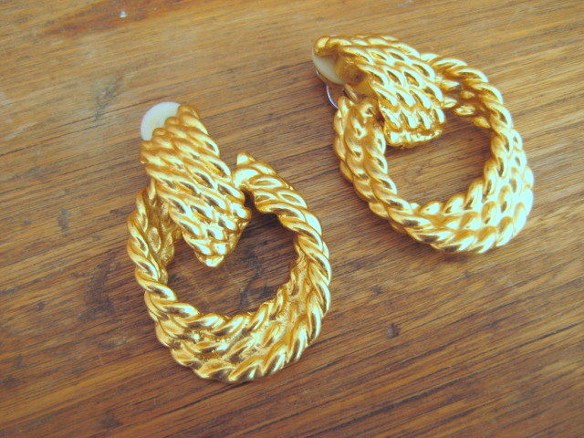 Gold Earrings Twisted Rope Dangle Hoops Vintage Re