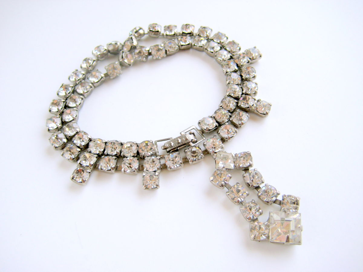 Vintage Rhinestone Necklace Drop Pendant - product image