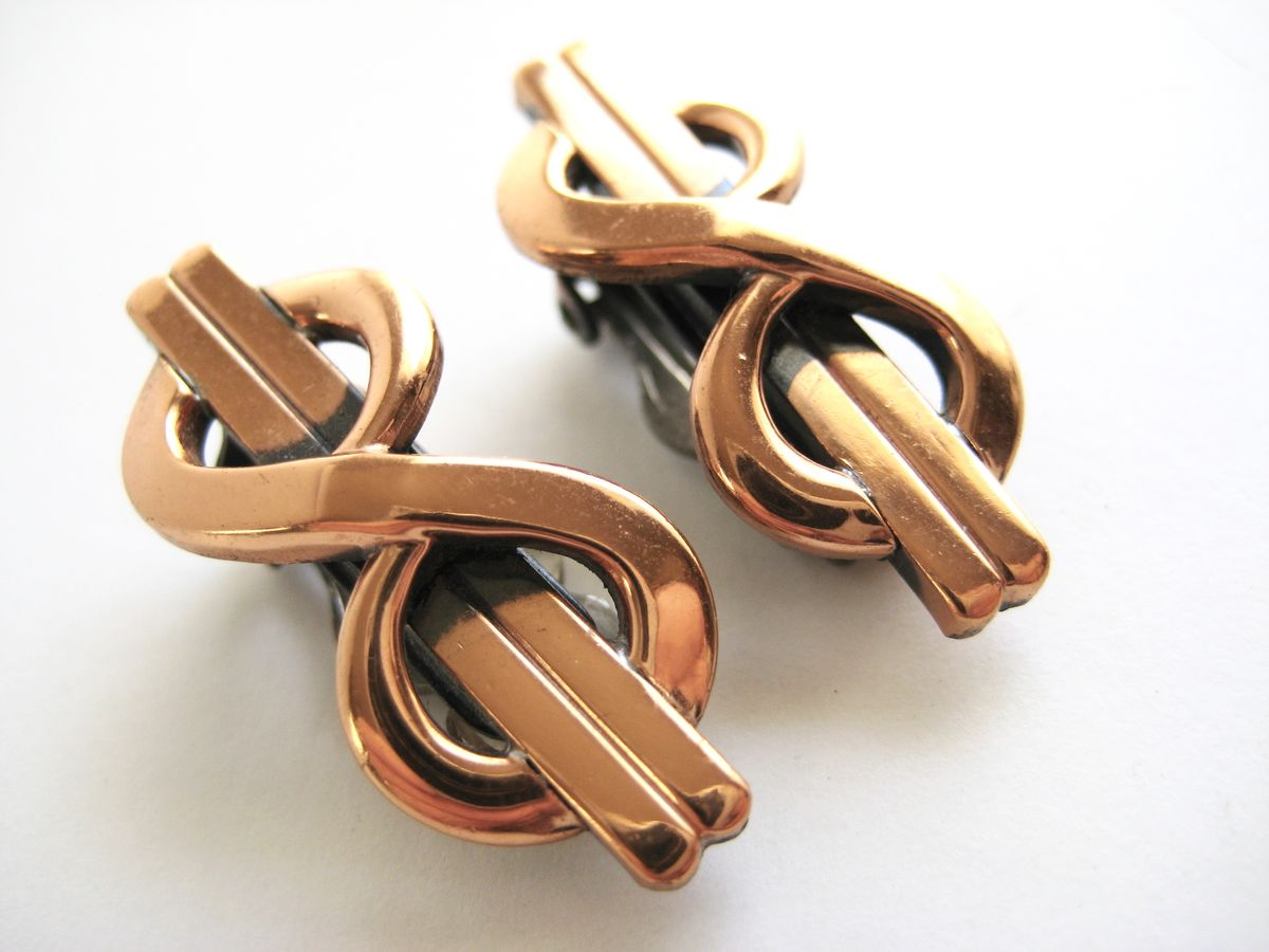 Copper Infinity Earrings by Renoir - product images  of
