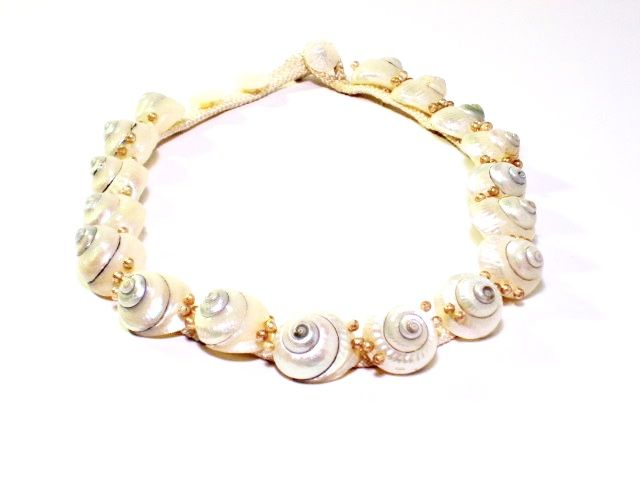 Vintage Shell Necklace on Silk Cord  - product image