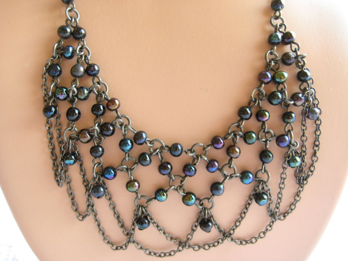 Boho style beaded bib necklace by Zad - product images  of