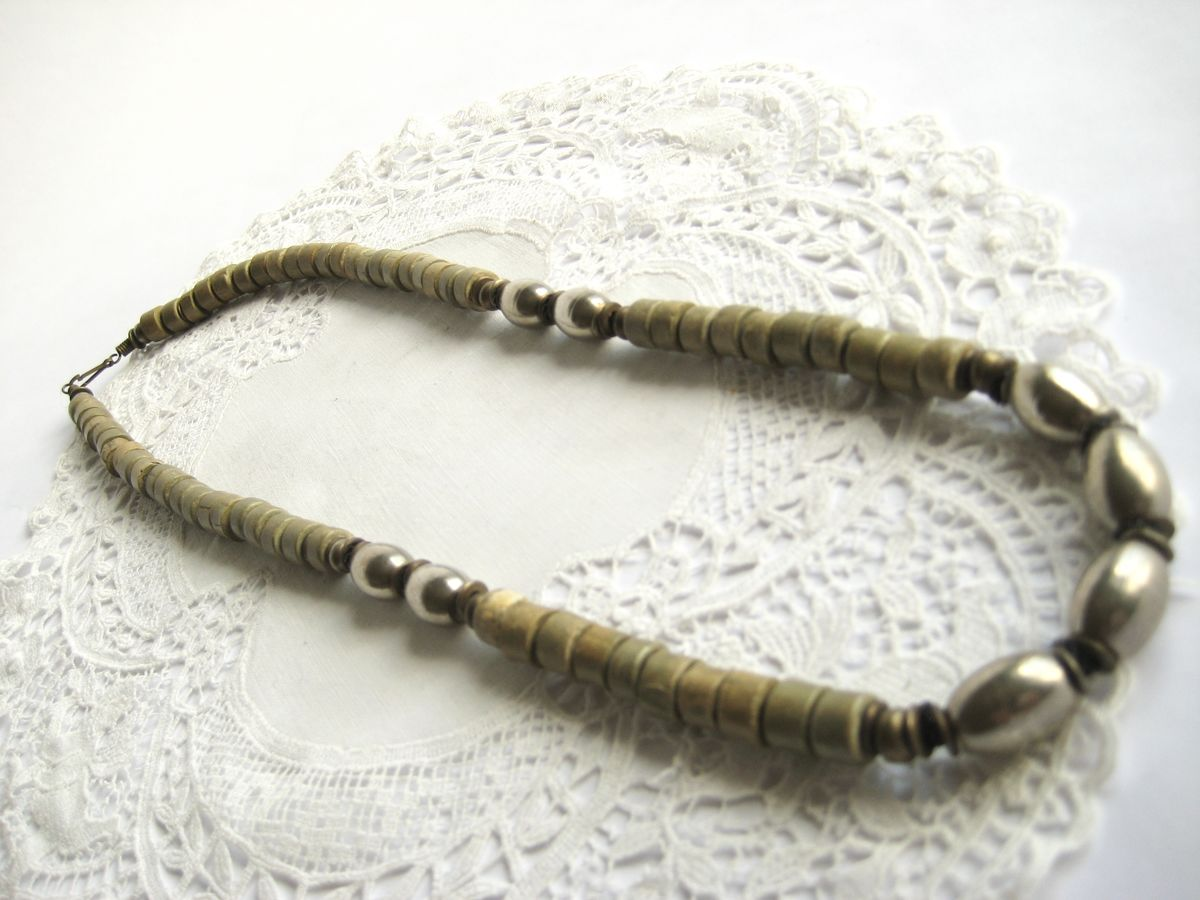 Ethnic stone and steel bead necklace - product images  of