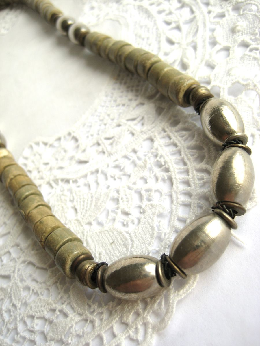 Ethnic stone and steel bead necklace - product image