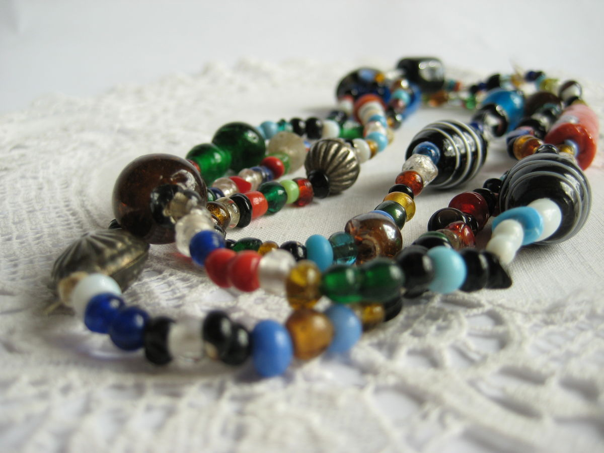 Glass bead necklace hand blown - product images  of