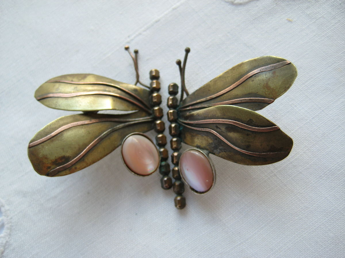 Brass and Copper Butterfly earrings with pink stones - product images  of