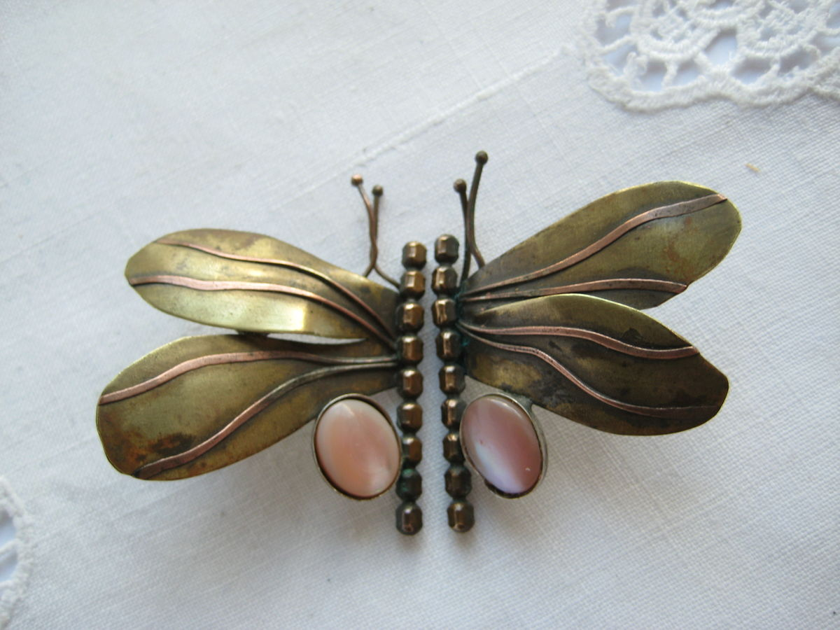 Brass and Copper Butterfly earrings with pink stones - product image